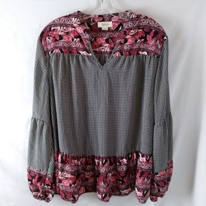 Style and Co. Check Gingham floral boho flowy top